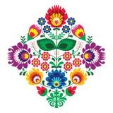 Фольклорная вышивка с цветками - традиционная польская картина иллюстрация штока