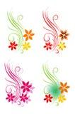 декоративная флористическая белизна вектора мотива Стоковые Изображения