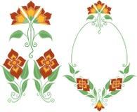 декоративная флористическая рамка Стоковые Изображения RF