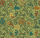 Декоративная флористическая ретро безшовная предпосылка Стоковое Изображение RF