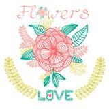 Декоративная флористическая карточка с цветком, влюбленностью Стоковые Изображения