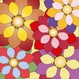 Декоративная флористическая предпосылка с красочными цветками Стоковое Фото