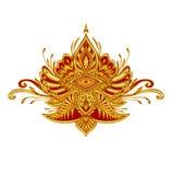 Декоративная эмблема элемента с влиянием вышивки в красных цветах золота бесплатная иллюстрация