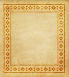 Декоративная этническая граница на части пергамента Стоковое Изображение