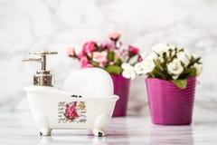 Декоративное керамическое мини блюдо мыла ванны ноги когтя с Sp ванны Стоковое фото RF