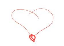 Декоративное красное сердце на строке. Украшение на Valentin Стоковые Изображения RF
