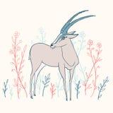 Декоративной ани doodle шаржа вектора газеля красочной нарисованное рукой Стоковые Изображения RF