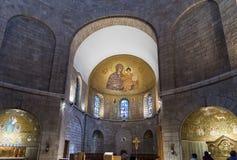Декоративно украшенный интерьер аббатства Dormition в старом городе Иерусалима, Израиля стоковая фотография rf