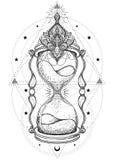 Декоративные античные часы при иллюстрация роз изолированная дальше Стоковые Фотографии RF