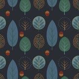 Декоративные деревья с картиной жолудей безшовной бесплатная иллюстрация