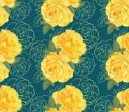 Декоративные желтые розы цвета с чертежом руки конспектируют флористическое в безшовной предпосылке Стоковые Фото