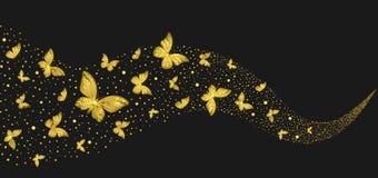 Декоративные золотые бабочки в потоке иллюстрация штока