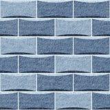 Декоративные кирпичи - текстура голубых джинсов - decoratio внутренней стены Стоковое фото RF