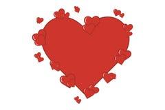 Декоративные красные сердца влюбленности Стоковые Фотографии RF