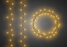 Декоративные красочные гирлянды электрической лампочки установили, decoratio рождества иллюстрация штока