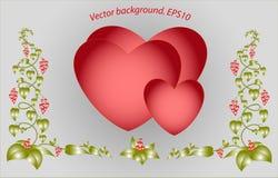 Декоративные красочные флористические сердца Вектор Eps10 Стоковое Фото