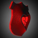 Декоративные настенные часы символизируя влюбленность Сердце в центре герба иллюстрация 3d Стоковое Изображение