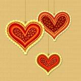 Декоративные сердца на строках Стоковая Фотография RF