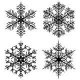 Декоративные снежинки установили на белую предпосылку бесплатная иллюстрация