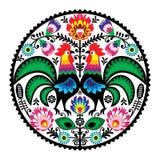 Польская флористическая вышивка с петухами - традиционная фольклорная картина иллюстрация вектора