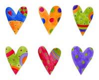 декоративные установленные сердца элементов Стоковые Изображения