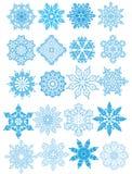 Декоративные установленные снежинки вектора Стоковая Фотография