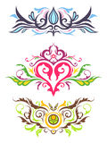 Декоративные флористические орнаменты Стоковые Изображения RF