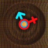 Декоративные часы сделанные из картона Символы женщины и человека Конструкция искусства иллюстрация 3d Иллюстрация штока