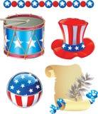 декоративные элементы четвертое -го июль Стоковые Изображения RF