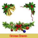 Декоративные элементы с комплектом вечнозелёного растения рождества бесплатная иллюстрация