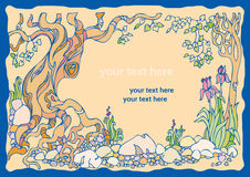 Декоративный ландшафт с деревьями, цветками и камнями Стоковое Фото