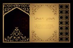 Декоративный арабский шаблон для вырезывания лазера в восточном стиле для konnrtov, крышки, открытки Высекающ на металле, бумага стоковое изображение