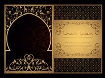 Декоративный арабский шаблон для вырезывания лазера в восточном стиле для konnrtov, крышки, открытки Высекающ на металле, бумага стоковые изображения