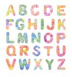Декоративный алфавит цвета, покрашенный вручную акварелью кругло бесплатная иллюстрация
