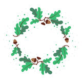 Декоративный венок листьев и жолудей дуба Круговое orna вектора иллюстрация вектора