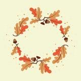 Декоративный венок листьев и жолудей дуба иллюстрация вектора