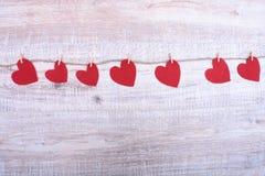 Декоративный войлок сердца для дизайна к дню валентинок Стоковые Фото