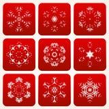 Декоративный комплект вектора снежинок Стоковое Изображение RF