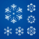 Декоративный комплект вектора снежинок Стоковая Фотография RF