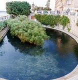 Декоративный круговой пруд в городской улице Стоковая Фотография