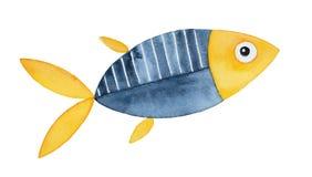 Декоративный орнаментальный чертеж рыб watercolour иллюстрация вектора