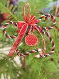 Декоративный орнамент рождества с удачливым гранатовым деревом Стоковое фото RF