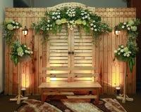 Декоративный простой антиквариат от деревянного материала к bridal браслетам Стоковое Изображение RF