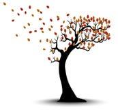 Декоративный силуэт дерева осени с листьями и ветром Брайна Стоковое Фото