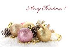 Декоративный состав рождества изолированный на белизне Стоковая Фотография RF