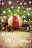 Декоративный состав рождества на деревянной предпосылке Стоковая Фотография RF