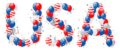 Декоративный текст США воздушных шаров иллюстрация вектора