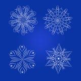 Декоративный флористический комплект элемента, снежинки Стоковая Фотография RF