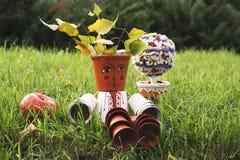 Декоративный фольклорный человек для оформления сада Стоковые Фото