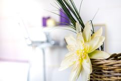 Декоративный цветок на краю ванны Стоковые Фотографии RF